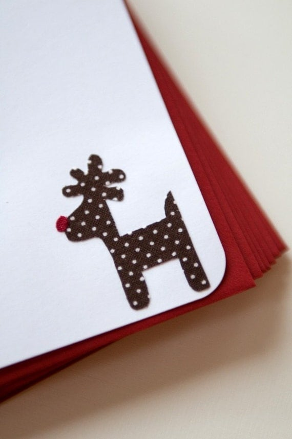 Fabric Reindeer Stationery - Set of 8