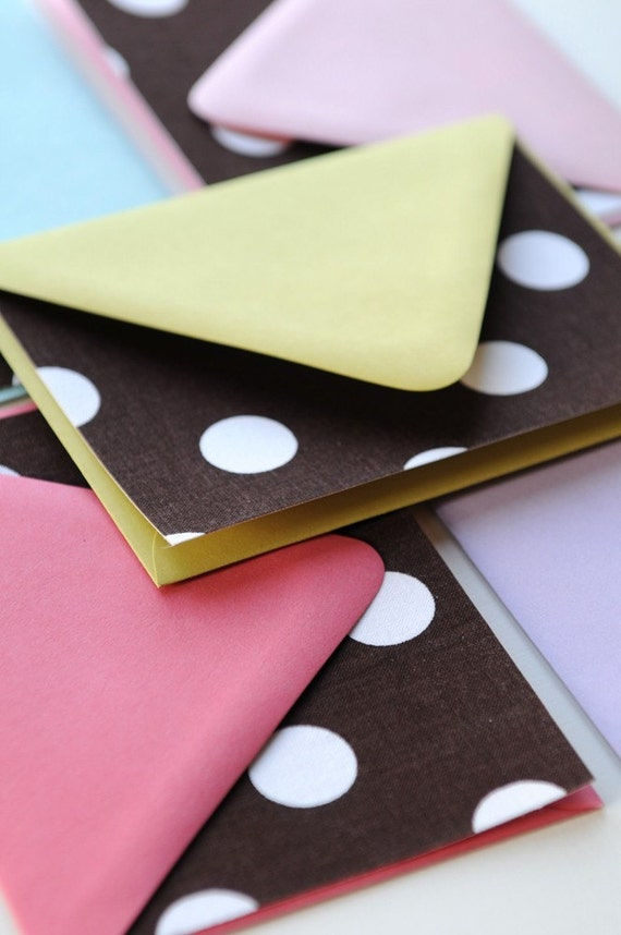 Chocolate Spots - FABRIC Note Cards - Set of 8