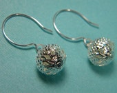 Silver Filigree Earrings filigree beads on sterling silver 3/4 circles - Audrey