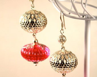 Amaris Earrings, filigree and vintage beads on sterling silver