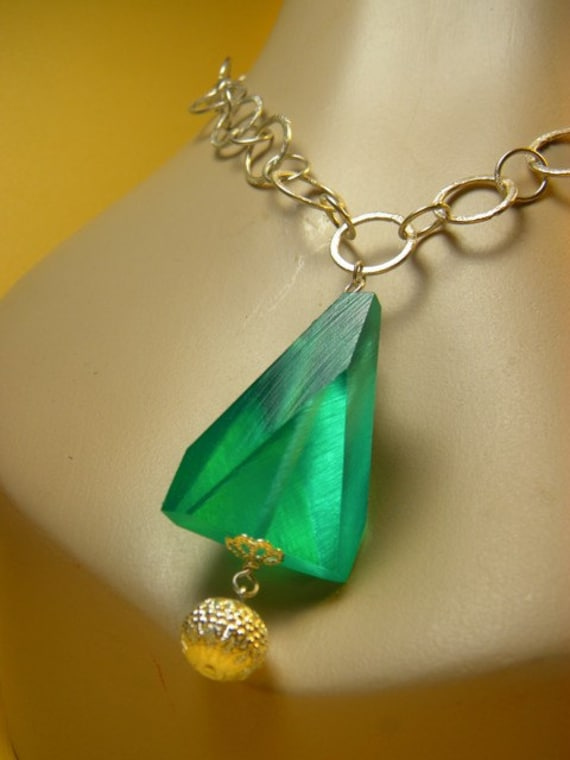 kryptonite necklace by persimmonjewelry on etsy