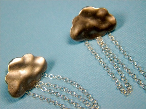 Handmade Earrings Sterling silver clouds on sterling silver chain - Rain Storm