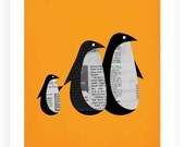Penguin shuffle orange - 8x10 giclee art print