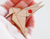 Origami Hummingbird Brooch - Sustainable Bamboo and Hand Painted