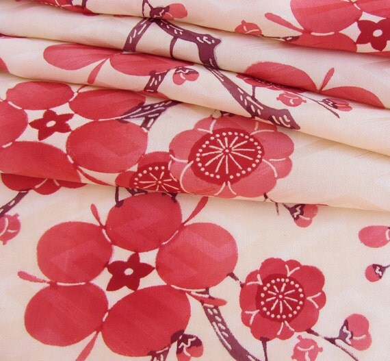 Japanese Kimono Fabric - Ume Plum Blossoms on Cream *Last Two Pieces*