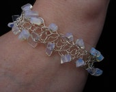 silver crochet bracelet with moonstone
