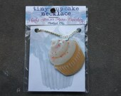 Tiny Cupcake Necklace - Vanilla w/ Sprinkles - FREE DOMESTIC SHIPPING