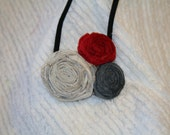 SALE..SALE..SALE..Fabric flower headband (red and gray)