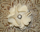 BUY 4 GET 1 FREE... Cream fabric flower with pearl and silver button center