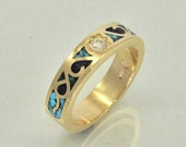14k Gold Mosaic Turquoise Inlay Ring with Diamond Center