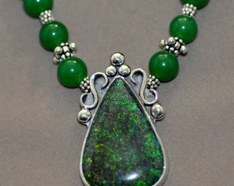 Opal and Chrysophrase Silver Necklace