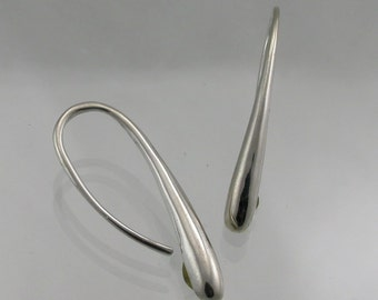 Small Sleek Drop Silver Earring