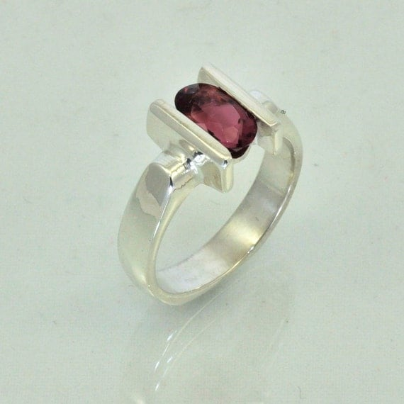 Rubilite Tourmaline Channel Set in Sterling Silver Ring