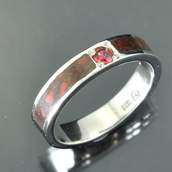 White Gold Dinosaur Bone Inlay Band
