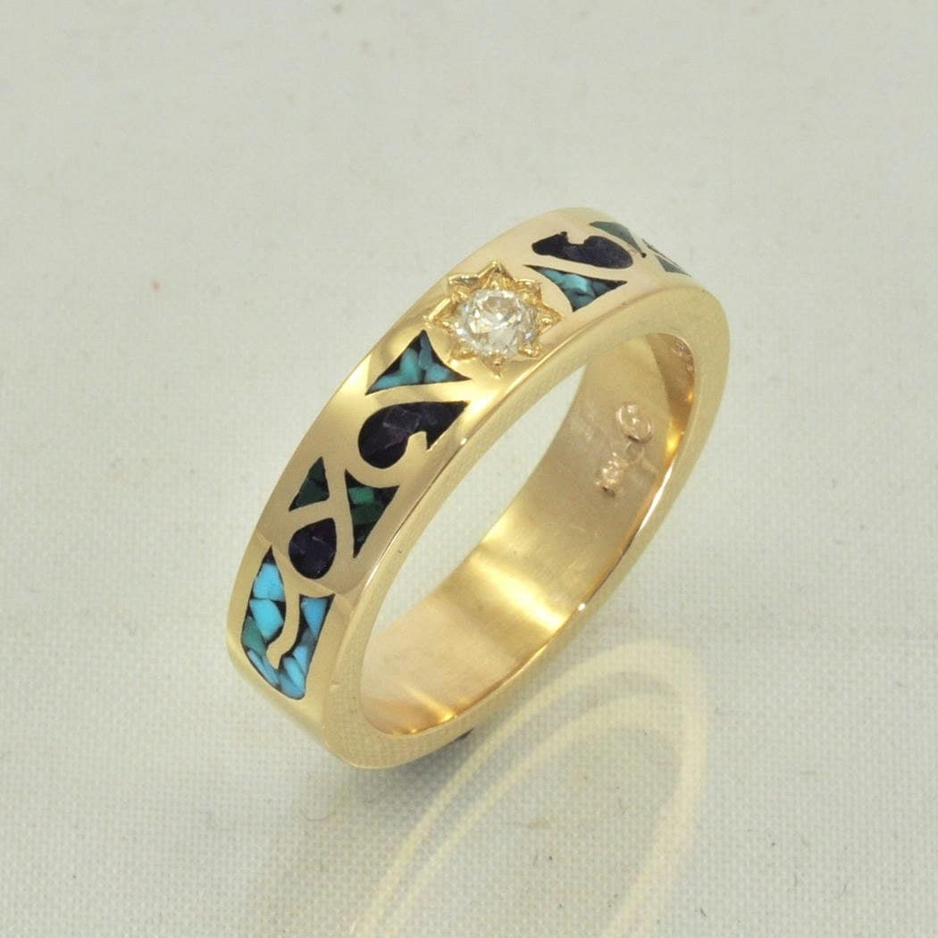 14k gold mosaic turquoise inlay ring with by