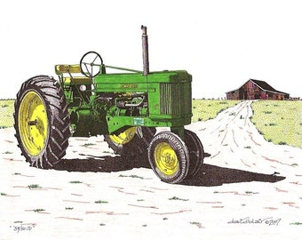 54 - 50 JD     Tractor Hand colored - Limited Edition Print