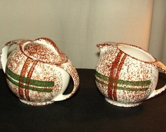 Vintage Blue Ridge Southern Potteries Rustic Plaid sugar and creamer