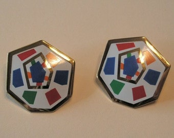Very Mod enamel hexagon clip on earrings