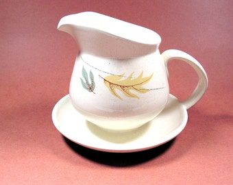 Franciscan Autumn gravy boat with attached underplate Mid century