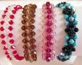 Swarovski Crystal  Bracelet,  Red White, Brown Sable, Pink Fuchsia, Turquoise Black Woven Crystal Beaded Bracelets, Hugs and Kisses