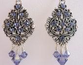 Tanzanite Chandelier Earrings, Purple Swarovski Crystal Earrings, Fancy Silver Glamour Earrings, Antique Silver Beaded Earrings