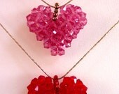Red Pink Heart Pendant Necklace,Swarovski Crystal Beaded Heart Pendant, Handmade Woven Puffy Heart,  Rose, Red, Pink