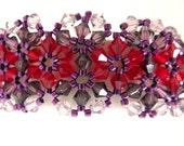 Red Purple Flower Cuff Bracelet, Swarovski Crystal Beaded Bracelet, Crystal Woven Bracelet, Beadweaving