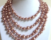 Pink Pearl Necklace, Mauve Pearl Beaded Long Strand Necklace, Rose Glass Beaded Necklace