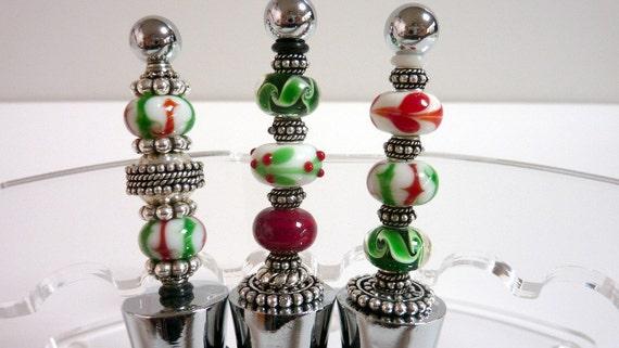 Christmas wine stoppers bottlestoppers red by elegencebyelaine