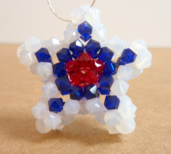 Star Pendant Necklace, Red White Blue Swarovski Crystal Woven Star Pendant, 4th of July, Memorial Day, Glass Beaded Star Pendant, Patriotic