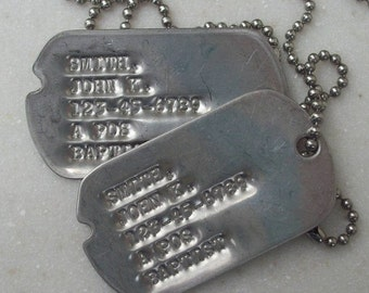 Notched Dog Tags Genuine Military Issue Stainless Steel Personalized Custom FREE SHIPPING