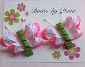 Set of 2 Butterfly Bows in Pink and Green