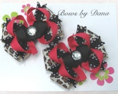 Set of 2 M2MG Leopard Chic and Parisian Chic Toddler Hair Bows