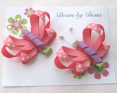 Set of 2 Butterfly Bows in Tropical Coral Pinks and Orchid