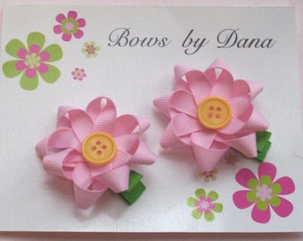 Pink Daisy Flower Clippies With Button Centers