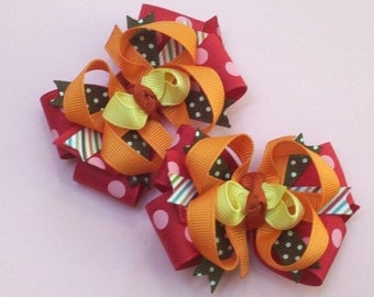 Set of 2 M2MG Purrfect Autumn Fall For Monkeys Toddler Hair Bows