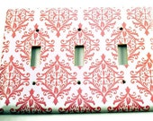Light Switch Cover Wall Decor  Switchplate   Light Switch Plate in Pink Damask   (152T)