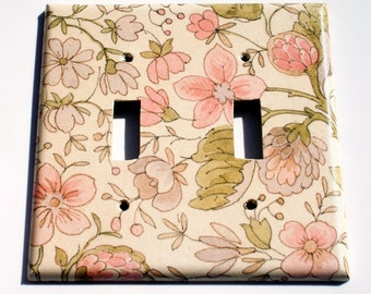 Double Light Switch Plate Wall Plates Switchplate Cover in Ivory Floral (285D)