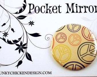 Handmade Pocket Mirror in Peace Out  (PM4)