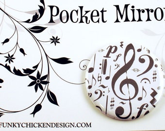 Handmade Pocket Mirror Makeup Cosmetic Purse Mirror in  High Note  (PM44)