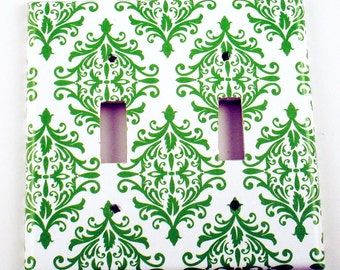 Light Switch Plate  Wall Decor Double Switchplate in  Green  Damask (204D)
