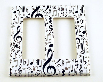 Light Switch Cover Wall Decor  Switch Plate Double Rocker in High Note  (104DR)