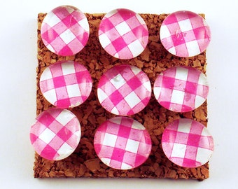 Cute Push Pins Decorative Push Pins Glass Push Pins  Cork Board Pins in Pink  Gingham  (P07)