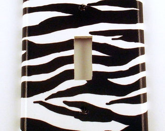 Light Switch Cover   Single Switchplate   Funky Switch Plate    Zebra  (086S)