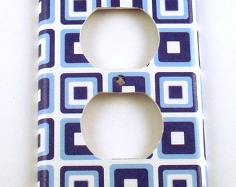 Switch Plate Wall Decor Outlet Light Switch Cover Switchplate in Retro Blue Squares (109O)