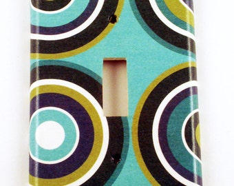 Light Switch Cover  Wall Decor Single Switchplate  Switch Plate in Turquoise Mod  (123S)