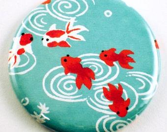 Handmade Pocket Mirror Cosmetic Purse Mirror  in  Little Fish   (PM42)