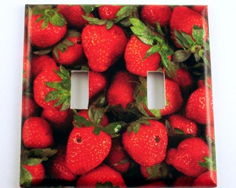 Strawberry Double Light Switch Cover Wall Decor  Switchplate  Double Switch Plate in  Very Berry (249D)