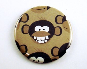 Pocket Mirror Makeup Purse Cosmetic Mirror in  Monkey Business (PM56)