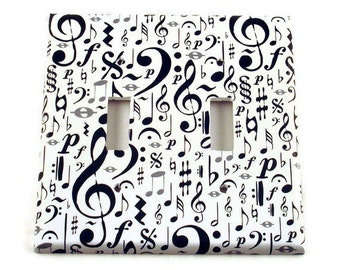 Black and White Music Note Double Switchplate Wall Decor Light Switch Cover  Switch Plate in  High Note  (104D)